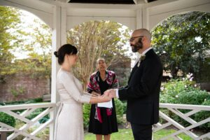 Leora Willis officiating an outdoor wedding in the Virginia area