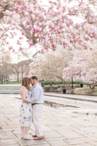 Rawlins Park in Washington, DC - Engagement Photo of a Bride and Groom - With This Ring I Thee Wedd with Leora Willis