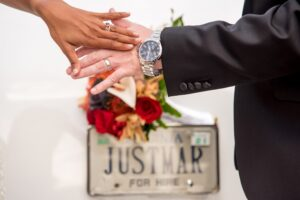 Bride and groom on their wedding day-With This Ring I Thee Wedd Ceremonies with Leora Willis